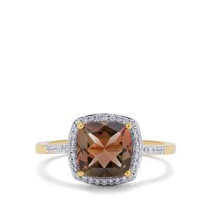 Oregon Sunstone Ring with Diamond in 18K Gold 2.05cts