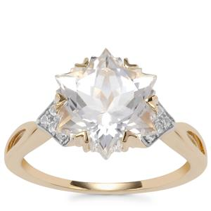 Wobito Snowflake Cut Cullinan Topaz Ring with White Topaz in 9K Gold 5.66cts