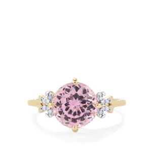 Mawi Kunzite Ring with Diamond in 10k Gold 3.54cts