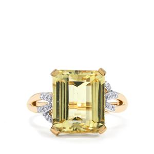 Canary Kunzite Ring with Diamond in 18K Gold 8.53cts