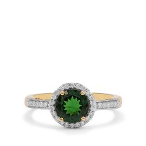 Tsavorite Garnet Ring with Diamond in 18K Gold 1.51cts