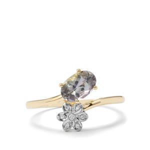 Bi Colour Tanzanite & Diamond 9K Gold Ring ATGW 0.86cts