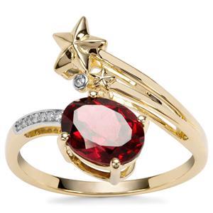 Savanna Pink Garnet Ring with Diamond in 9K Gold 2.06cts
