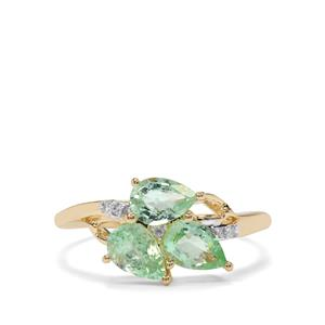Paraiba Tourmaline Ring with Diamond in 9K Gold 1.37cts