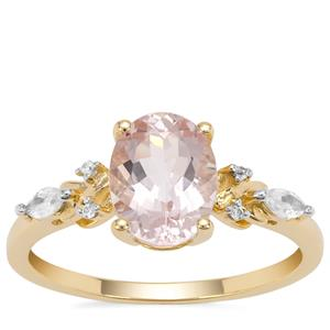 Cherry Blossom™ Morganite Ring with White Zircon in 9K Gold 1.84cts