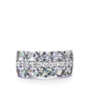 Bi-Colour Tanzanite & White Topaz Sterling Silver Ring ATGW 3.60cts