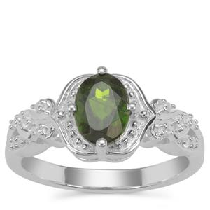Chrome Diopside Ring with White Zircon in Sterling Silver 1.31cts