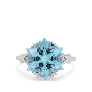 Wobito Snowflake Cut Sky Blue Topaz & Blue Diamond 9K White Gold Ring ATGW 9.35cts