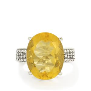 Golden Fluorite & White Topaz Sterling Silver Ring ATGW 15.13cts