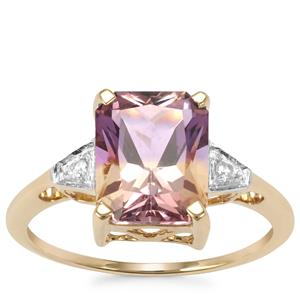 Anahi Ametrine Ring with White Zircon in 9K Gold 2.93cts