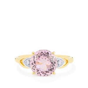 Mawi Kunzite Ring with Diamond in 10k Gold 3.67cts