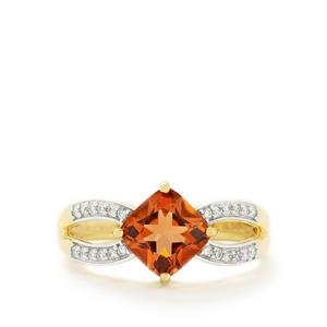 Oregon Sunstone & Diamond 18k Gold Tomas Rae Ring MTGW 1.56cts