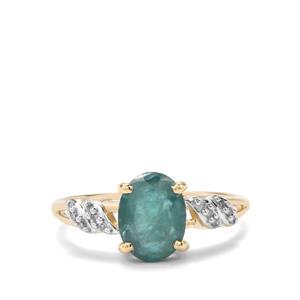 Grandidierite & Diamond 10K Gold Ring ATGW 1.91cts
