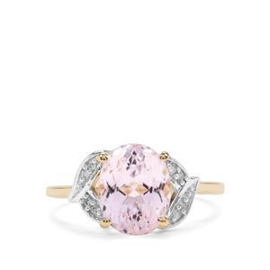 Kolum Kunzite & Diamond 10K Gold Ring ATGW 3.49cts