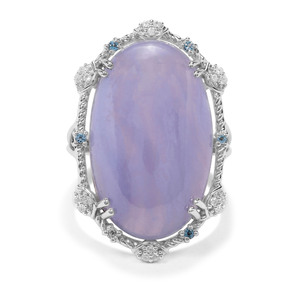Blue Lace Agate, Swiss Blue Topaz & White Zircon Sterling Silver Ring ATGW 21.35cts