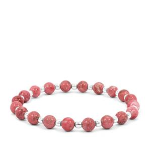 36.50ct Norwegian Thulite Sterling Silver Aryonna Stretchable Bracelet