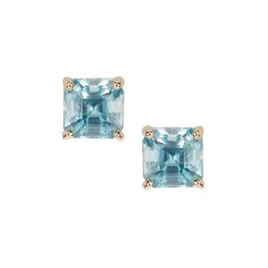 Asscher Cut Ratanakiri Blue Zircon Earrings in 9K Gold 1.80cts