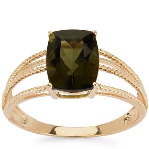 1.66ct Moldavite 9K Gold Ring