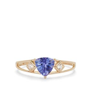 AAA Tanzanite Ring with White Zircon in 9K Gold 0.85cts