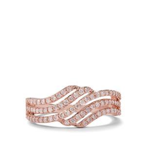 1/2ct Natural Pink Diamond 9K Rose Gold Ring