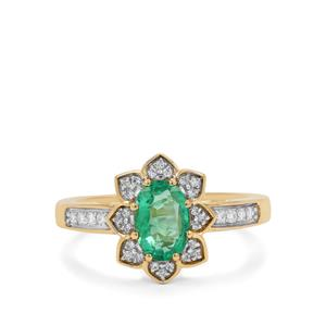 Ethiopian Emerald Ring with Diamond in 18K Gold 1.05cts