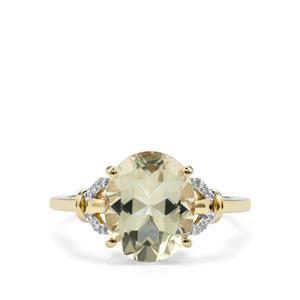 Serenite & Diamond 10K Gold Ring ATGW 3.32cts
