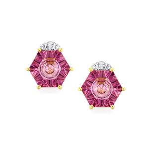 Lehrer QuasarCut Pink Topaz Earrings with Diamond in 9K Gold 4.13cts