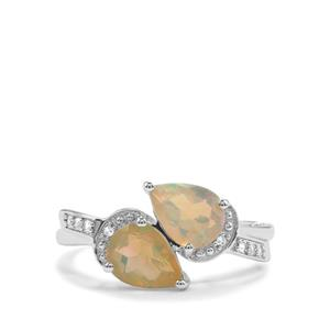 Ethiopian Opal & White Topaz Sterling Silver Ring ATGW 1.33cts