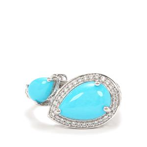 Sleeping Beauty Turquoise Ring with White Zircon in Platinum Plated Sterling Silver 3.16cts