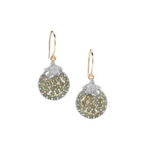 Alexandrite Star Fish Earrings with White Zircon in 9K Gold 1.67cts