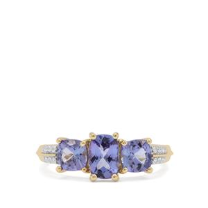 Tanzanite Ring with White Zircon in 9K Gold 2cts
