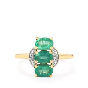 Zambian Emerald & Diamond 10K Gold Ring ATGW 1.16cts