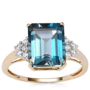 Marambaia London Blue Topaz Ring with White Zircon in 9K Gold 4.42cts