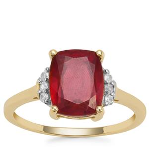 Malagasy Ruby Ring with White Zircon in 9K Gold 4.27cts