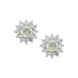Ethiopian Opal Earrings with White Topaz in Sterling Silver 1.96cts
