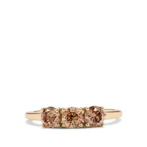 Champagne Diamond Ring in 10k Gold 1cts