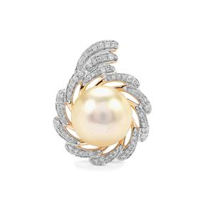 South Sea Cultured Pearl Pendant with Diamond in 18K Gold (11mm x 10mm)