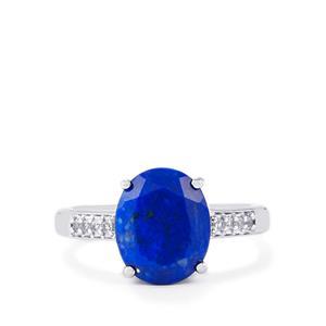 Sar-i-Sang Lapis Lazuli & White Topaz Sterling Silver Ring ATGW 3.56cts