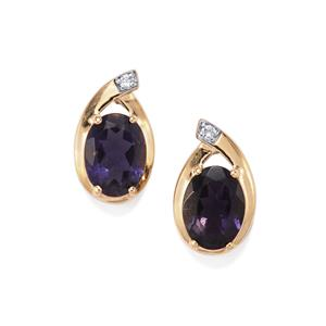 Bengal Iolite Earrings with White Zircon in 10K Gold 2.04cts