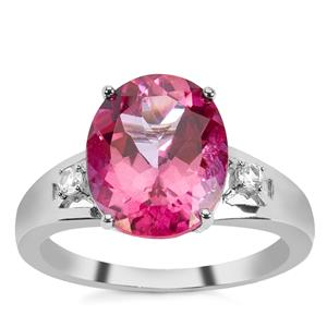 Pure Pink Topaz & White Zircon Sterling Silver Ring ATGW 5.74cts