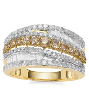Champagne Diamond Ring with White Diamond in 9K Gold 1.50cts
