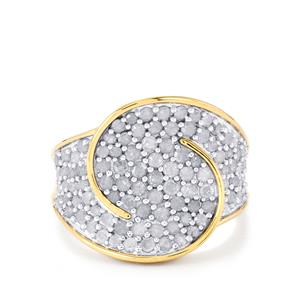 Diamond Ring  in Gold Plated Sterling Silver 1.50ct