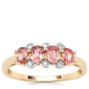 Sakaraha Pink Sapphire Ring with Diamond in 10K Gold 1.05ct