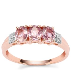 Sakaraha Pink Sapphire Ring with Diamond in 10K Rose Gold 1.39cts