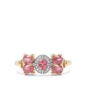 Padparadscha Sapphire & Diamond 9K Gold Ring ATGW 1.17cts