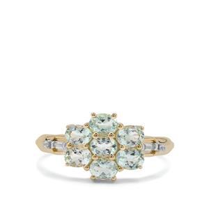 Aquaiba Beryl & White Zircon 9K Gold Ring ATGW 1.12cts