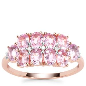 Sakaraha Pink Sapphire Ring with Diamond in 10K Rose Gold 2.42cts