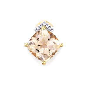 Alto Ligonha Morganite Pendant with White Zircon in 10k Gold 1.92cts