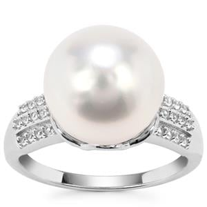 South Sea Cultured Pearl Ring with White Zircon in 9K White Gold