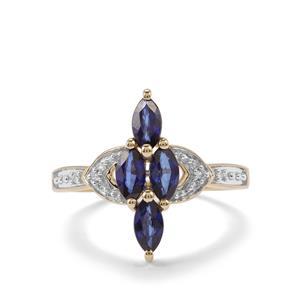Sri Lankan Sapphire & Diamond 9K Gold Ring ATGW 1.15cts